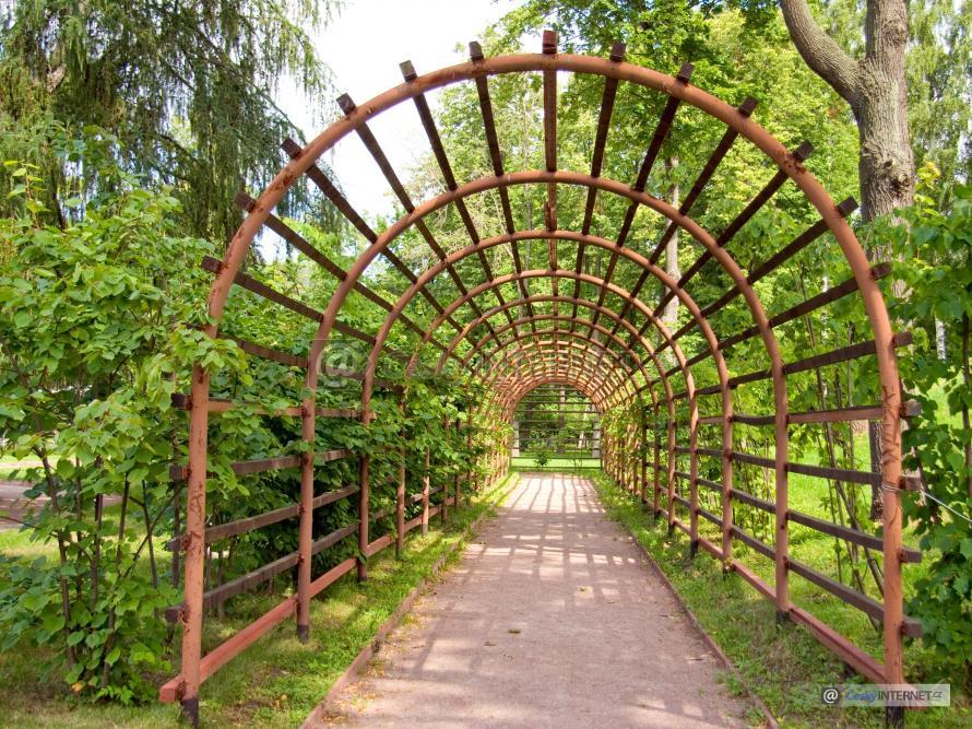 Dlouhá zahradní pergolka v parku.