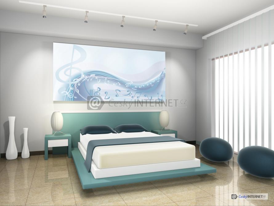 Moderní dvoulůžková postel.