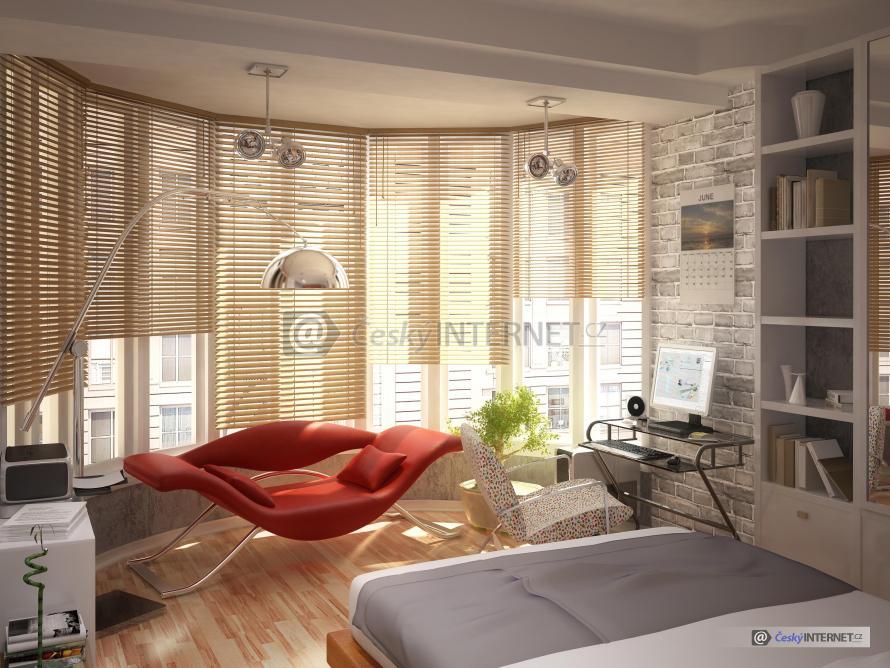 Moderní ložnice s prosklenou stěnou.