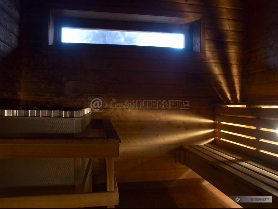 Detail interieru sauny.