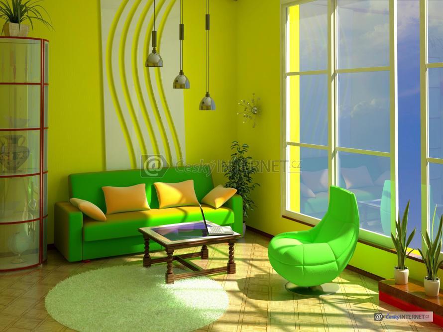 Obývací pokoj s čalouněnou sedací soupravou.