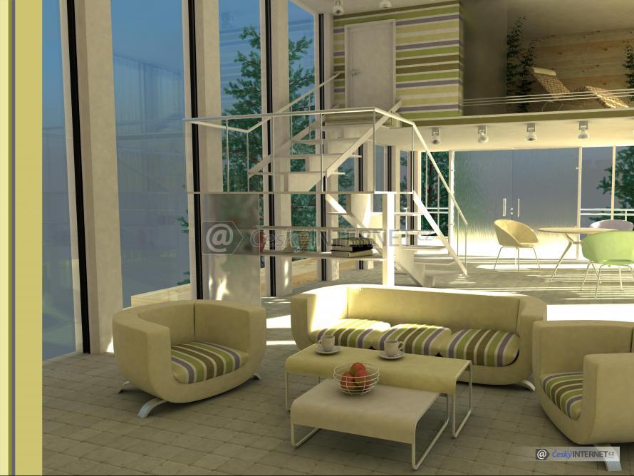 Moderní sedací souprava v prosklené místnosti.