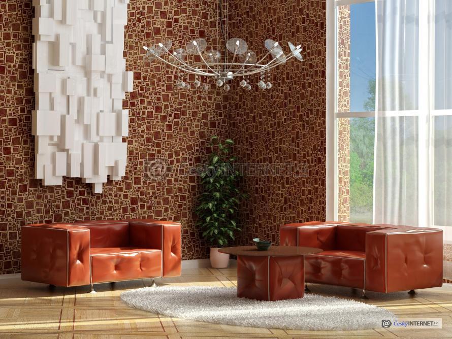 Obývací pokoj s koženou sedací soupravou.