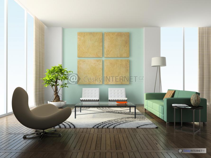Moderní obývací pokoj s prosklenou stěnou.