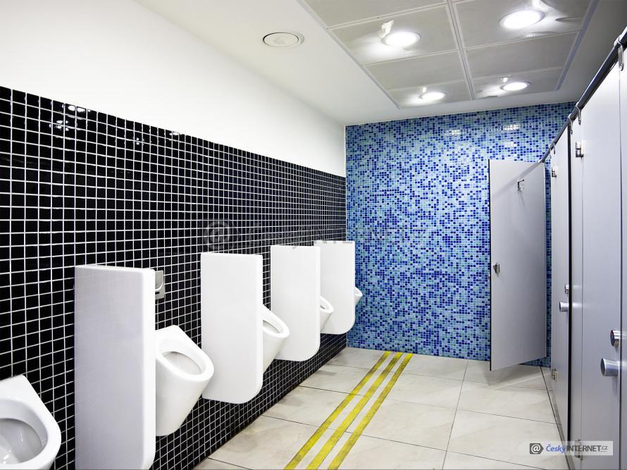 Veřejné wc, pisoáry a oddělené boxy.