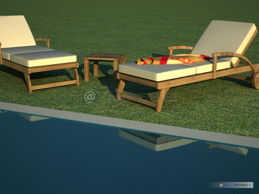 Zahradní nábytek u bazénu.